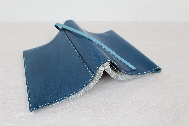 珍味突き出す抑制するブックカバーB6判単行本サイズ(ソフトカバー)国産 革イタリアンナッパ piccino ピッチーノ A97NLブルー