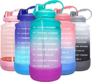 Elvira Large 1 Gallon/128 oz Motivational Time Marker Water Bottle with Straw & Protective Silicone Boot, BPA Free Anti-sl...