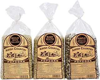 Amish Country Popcorn - 3 (2 lb bags) Medium White, Baby White, Purple Kernels Gift Set - Old Fashioned, Non GMO, Gluten Free, Microwaveable, Stovetop and Air Popper Friendly with Recipe Guide