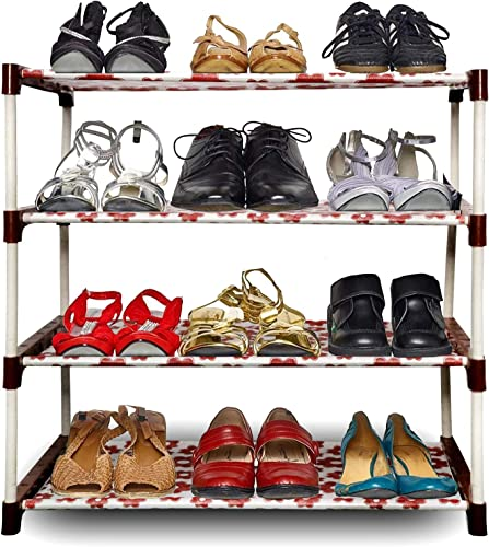 AYSIS Shoe Rack Organizer Metal Standing Shoe Rack Shoe Cabinet Stand Shoe case for Home Furniture Color Multicolour 4 Shelf
