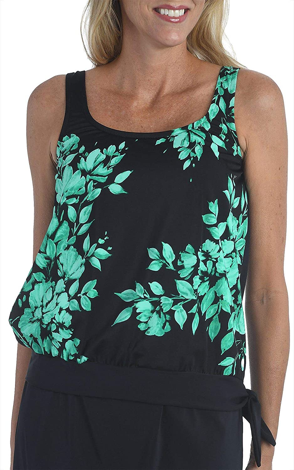Maxine Of Hollywood Women's Side Tie Scoop Neck Banded Tankini Swimsuit Top