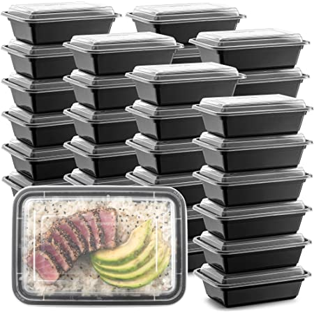 """50-Pack Meal Prep Plastic Microwavable Food Containers meal prepping & Lids.""""{24 OZ.}"""" Black Rectangular Reusable Storage Lunch Boxes -BPA-free Food Grade- Freezer Dishwasher Safe -""""PREMIUM QUALITY"""""""