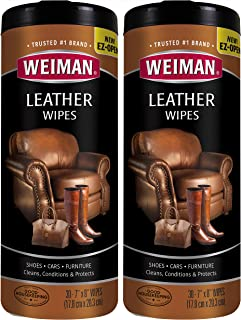 Weiman Leather Wipes for Furniture - 2 Pack - Non Toxic Formula Cleans and Conditions Car Seats, Shoes, Couches and More - 30 Wipes