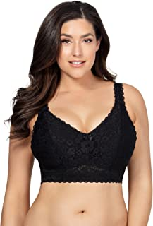 PARFAIT Adriana Women's Full Figured Supportive Wirefree Comfy Lace Bralette with J-Hook Style P5482