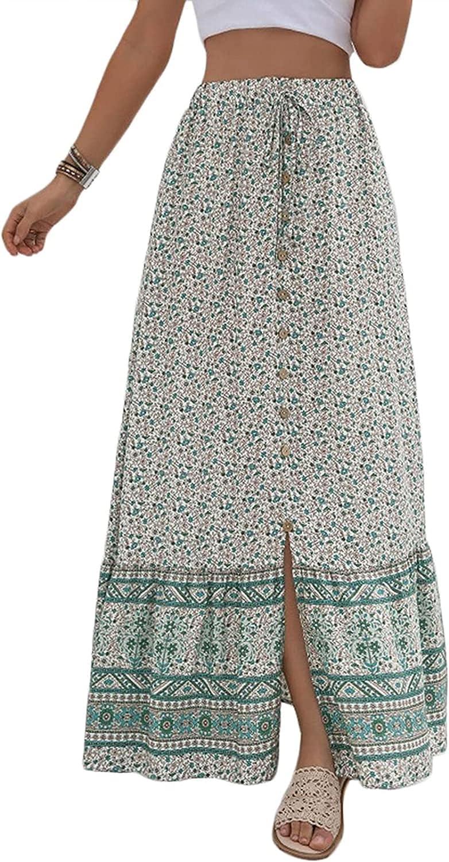 Finerun Women's Boho Floral Print High Waist Split Front Button Beach A-Line Long Skirt