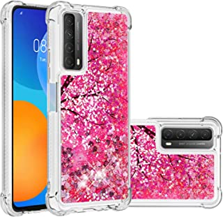Miagon Liquid Clear Case for Huawei P Smart 2021,Soft Glitter Shockproof Cover Floating Bling Sparkle Shiny Heart Quicksan...