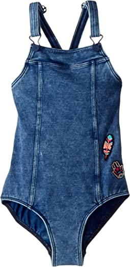 Seafolly Kids - Moonchild Denim Dungaree Tank One-Piece (Big Kids)