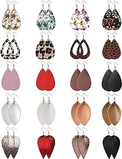 20 Pairs Leather Teardrop Dangle Earrings For Women Petal Leopard Print Leaf Drop Antique Lightweight Earrings