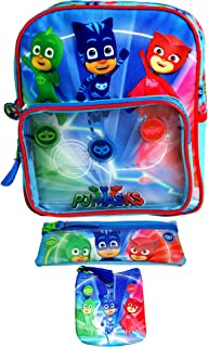 PJ Masks Kid Backpack with 2 Stationery Cases Set,School Bag,Official Licensed.