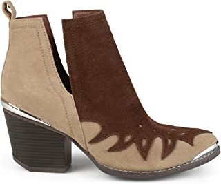 Womens Faux Suede Two-Tone Western Side Slit Booties