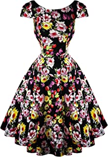 c6d5a64f8cdd Hearts & Roses London Black Floral Vintage 50s Prom Swing Flared Dress  Excellent Quality