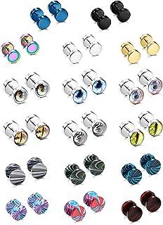 SAILIMUE 17 Pairs Stainless Steel Men Earrings Studs Fake Gauges Ear Piercing Plugs Tunnel Screw Design Eyeball Black Earr...