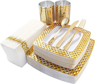 I00000 175 PCS Gold Plastic Dinnerware, 50 Diamond Square Plates-25 Dinner Plates, 25 Dessert Plates, 75 Gold Disposable Cutlery-25 Knives, 25 Forks, 25 Spoons, 25 Cups 9Oz, 25 Linen Like Napkins