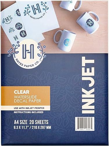 Papier Hayes, Papier décalcomanie transparent, Jet d'encre, 20 feuilles de décalcomanie Premium Taille A4 Imprimables...