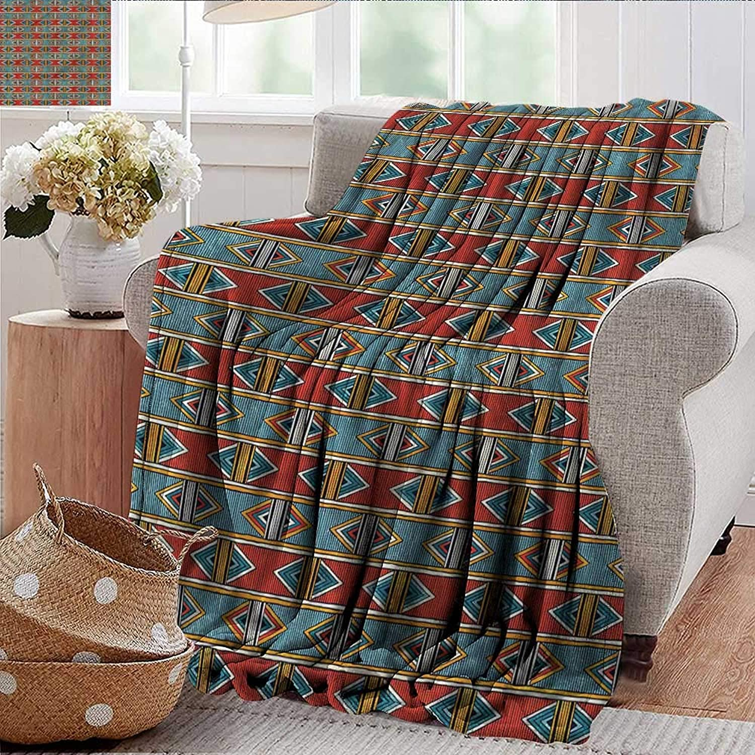 Xaviera Doherty Weighted Blanket for Kids Kente Pattern,Tribal Cultural Soft Summer Cooling Lightweight Bed Blanket 50 x60