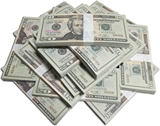 Motion Picture Money Real Looking US Play Money, Double Sided, (dollars)20's, 100 Bills, for Education, Play, Fun, Props