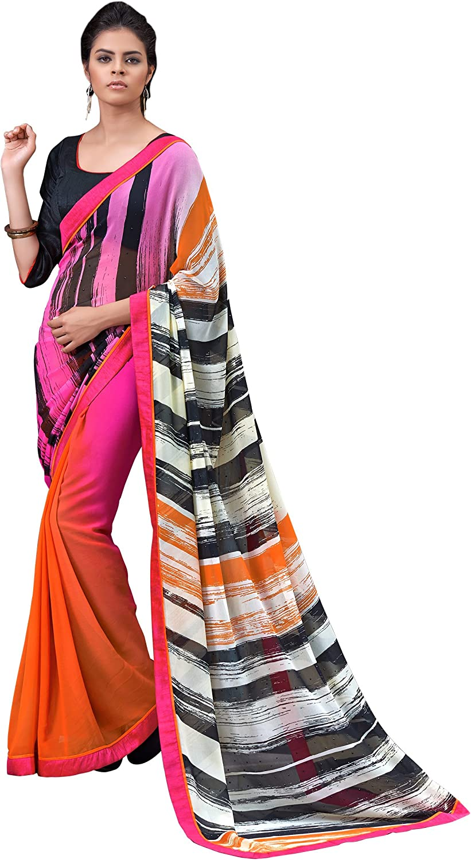 Saris and Things Digital Print Crepe Silk Vivacious Shaded Saree Sari