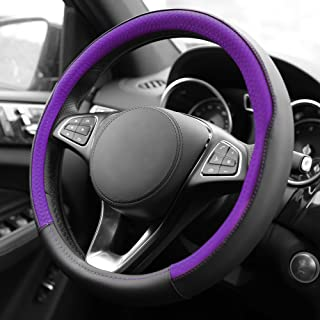 FH Group FH2009PURPLE Purple Geometric Chic Leather Steering Wheel Cover