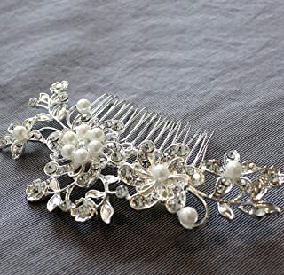 Wedding Hair Comb for Bride & Maid of Honor Gift. Bridal Silver, Rhinestone & Pearl Hair Accessories for Women – Decorative Formal Clip for Bun or Updo. Free Gift/No Risk