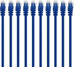 GearIT 10 Pack, Cat 6 Ethernet Cable Cat6 Snagless Patch 6 Feet - Computer LAN Network Cord, Blue - Compatible with 10 Port Switch POE 10port Gigabit