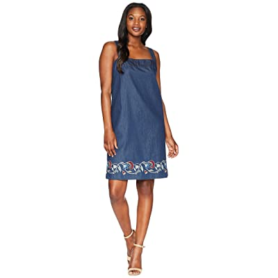 Pendleton Tala Embroidered Cotton Apron Dress (Dark Wash Multi Border) Women