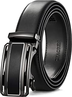 Leather Ratchet Dress Belt 1 3/8 with Click Slide Buckle, Adjustable Trim to Fit in Gift Box