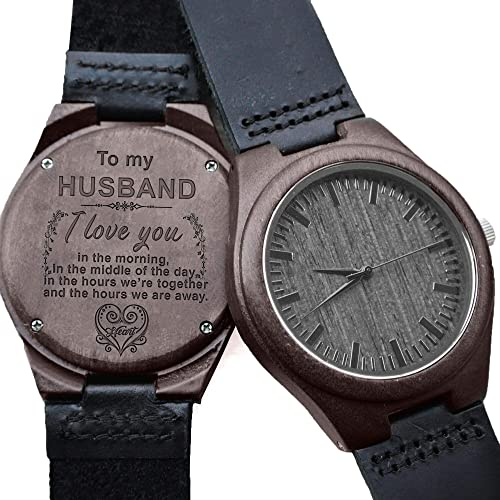 Engraved Wooden Watch For MenNatural Groomsmen Husband Son Natural Ebony Customized