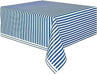 Royal Blue Striped Plastic Tablecloth, 108