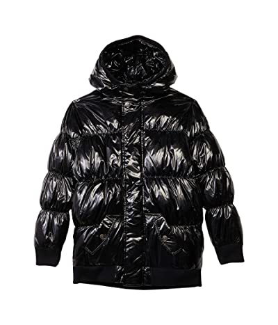 Appaman Adaptive Kids Puffy Coat (Little Kids/Big Kids) (Black Glitter) Girl