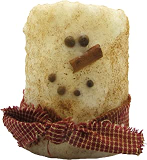Star Hollow Candle Co Primitive Snowman Battery Time Pillar Candle, 3
