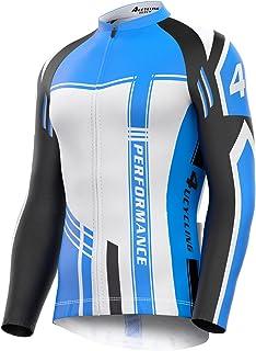 4ucycling 男士全拉链吸湿排汗长袖骑行运动衫,透气跑步上衣 - 自行车骑行衬衫