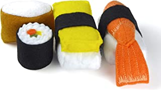 Felt Sushi Play Set (4 Pieces) Pretend Food Play - Unroll the Maki and re-roll, Take apart the Shrimp and Tamago, Inari