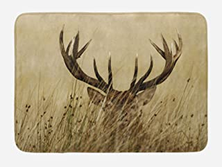Lunarable Antler Bath Mat, Whitetail Deer Fawn in Wilderness Stag in Countryside Rural Hunting Theme, Plush Bathroom Decor Mat with Non Slip Backing, 29.5