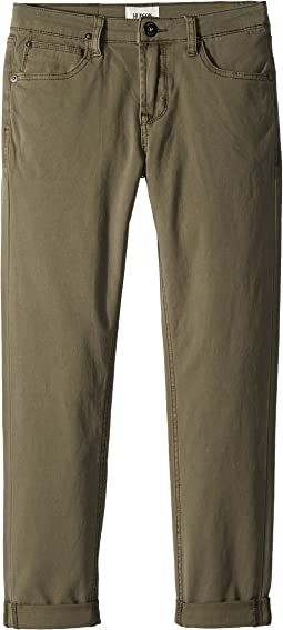 Hudson Kids - Blake Slim Leg Double Roll Cuff Sateen Pants in Green Turf (Big Kids)