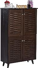 DeckUp Bei 4-Door Shoe Rack with Wooden Legs (Walnut, Matte Finish)