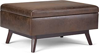 Simpli Home AXCOT267S-DBR Owen 34 inch Wide Mid Century Modern Rectangle Coffee Table Storage Ottoman in Distressed Chestnut Brown Faux Air Leather