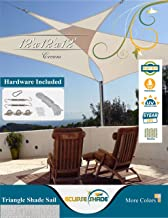 Eclipse Shade 12'x12'x12' Heavy Duty Triangle Shade Sail, Cream Color Hardware Included Canopy Awning UV Resistant Porch Cover