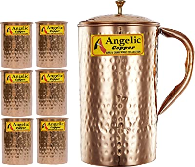 Angelic Copper Handmade Jug with Glasses Set, Set of 6, Brown