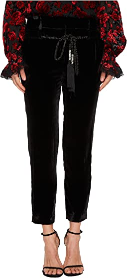 The Kooples - Flowing Velvet Trousers with A Drawstring Waist