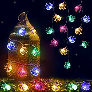 Eid Moon Lights with Star String Light,Ramadan String Lights 6.6 Feet 20 LED Battery Operated of 2 Light Modes for Outdoor...