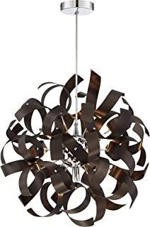 Quoizel RBN2817WT Ribbons Curved Metal Pendant Ceiling Lighting, 5-Light, Xenon 200 Watts, Western Bronze (17