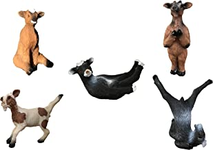 """Yoga with Goats Figurines by Bella Haus Designs -Set of Five Goat Statue Action Figures, Goat Yoga Decor- 3"""" Goat Yoga Poses"""