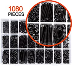 K Kwokker 1080 Pcs M3 M4 M2 Bolts and Nuts, Washers Stainless Steel Hex Socket Screw Head Screws Assortment with Storage Box Professional Tools Black