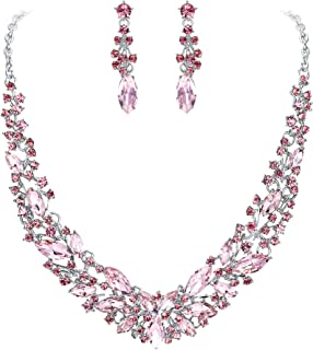 Clearine Women's Wedding Bridal Austrian Crystal Marquise Cluster Collar Necklace Dangle Earrings Set