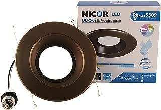 NICOR Lighting 5/6-Inch Dimmable 1200-Lumen 4000K LED Downlight Retrofit Kit for Recessed Housings, Oil-Rubbed Bronze Trim (DLR56-3012-120-4K-OB)