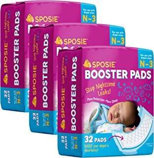 Sposie Overnight Baby Diaper Booster Pads/ Doublers for Newborns to Size 3 Diapers| 96 Insert-Pads| No Adhesive, Easy Repo...