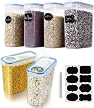 Cereal & Dry Food Storage Containers, VALUXE Airtight Plastic Kitchen Storage Organizer, Set of 6 [2.5L / 85.4oz] for Suga...