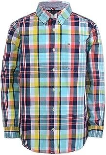TOMMY HILFIGER Little Boys Enzo Plaid Button-Front Cotton Shirt Flag Blue 7
