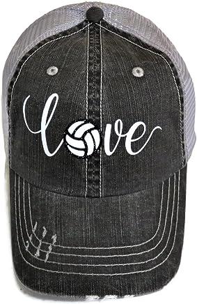 White/Black Glitter Volleyball Love Distressed Look Grey Trucker Cap Hat Sports