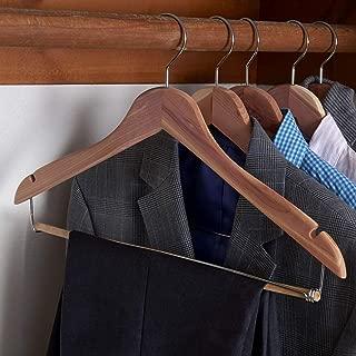 Household Essentials CedarFresh 26340 Red Cedar Wood Clothes Hangers   Locking Trouser Bar and Swivel Hook   Set of 4